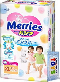 Pants - Japanese Pants - Import Pants Merries Smooth Air-Through - Comfortable Fit - Prevents Leakage from The Sides - Less Pressure On Your Baby`s Tummy XL 38 pcs 27-38 lbs
