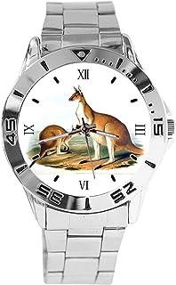 Reloj de Pulsera analógico con diseño de Canguro Vintage, de Cuarzo, Esfera Plateada, Correa clásica de Acero Inoxidable, ...