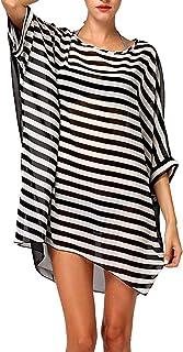 heekpek Copricostumi e Parei Donna,Sexy Sciolto Beachwear Cover Up Costumi da Bagno Bikini Abito,Camicia da Donna,Copricostume Spiaggia Camicetta Strisce Camicetta da Spiaggia