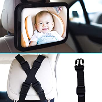 Baby & Mom Back Seat Baby Mirror - Rear View Baby Car Seat Mirror Wide Convex Shatterproof Glass and Fully Assembled ...