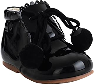 Girls Bridesmaids Pom Pom Party Shoes Patent Shoes Infant Sizes UK 1,2,3,4,5,7,8