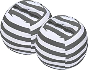 Miaowater 2 PCS Stuffed Animal Storage Bean Bag Chair Cover, Cotton Canvas Beanbag with Zipper for Organizing Kid's and Adults Room Grey 24