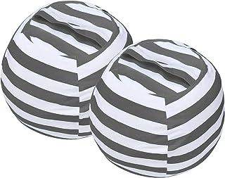 Miaowater Lot de 2 poufs de rangement en toile de coton avec fermeture éclair pour chambre d'enfant et d'adulte Gris 61 cm