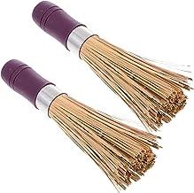 Bestonzon 2pcs Frying Pan Brush Kitchen Cleaning Brush Handle Cleaning Brush Pan Brush Pot Brush Natural Wok Cleaning Whis...