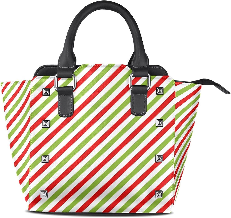 My Little Nest Women's Top Handle Satchel Handbag Christmas Red Green Diagonal Stripes Ladies PU Leather Shoulder Bag Crossbody Bag