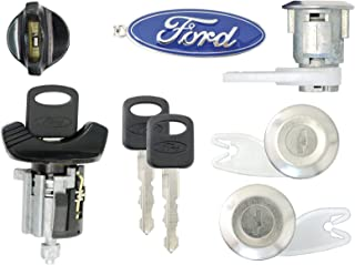 Ford 1992-95 F150, F250 Pick Up Ignition and 2 Door Locks with 2 Keys (Black)