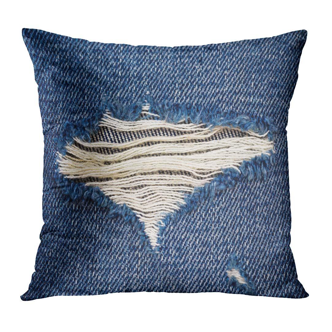 TOMKEYS Throw Pillow Cover Worn Denim