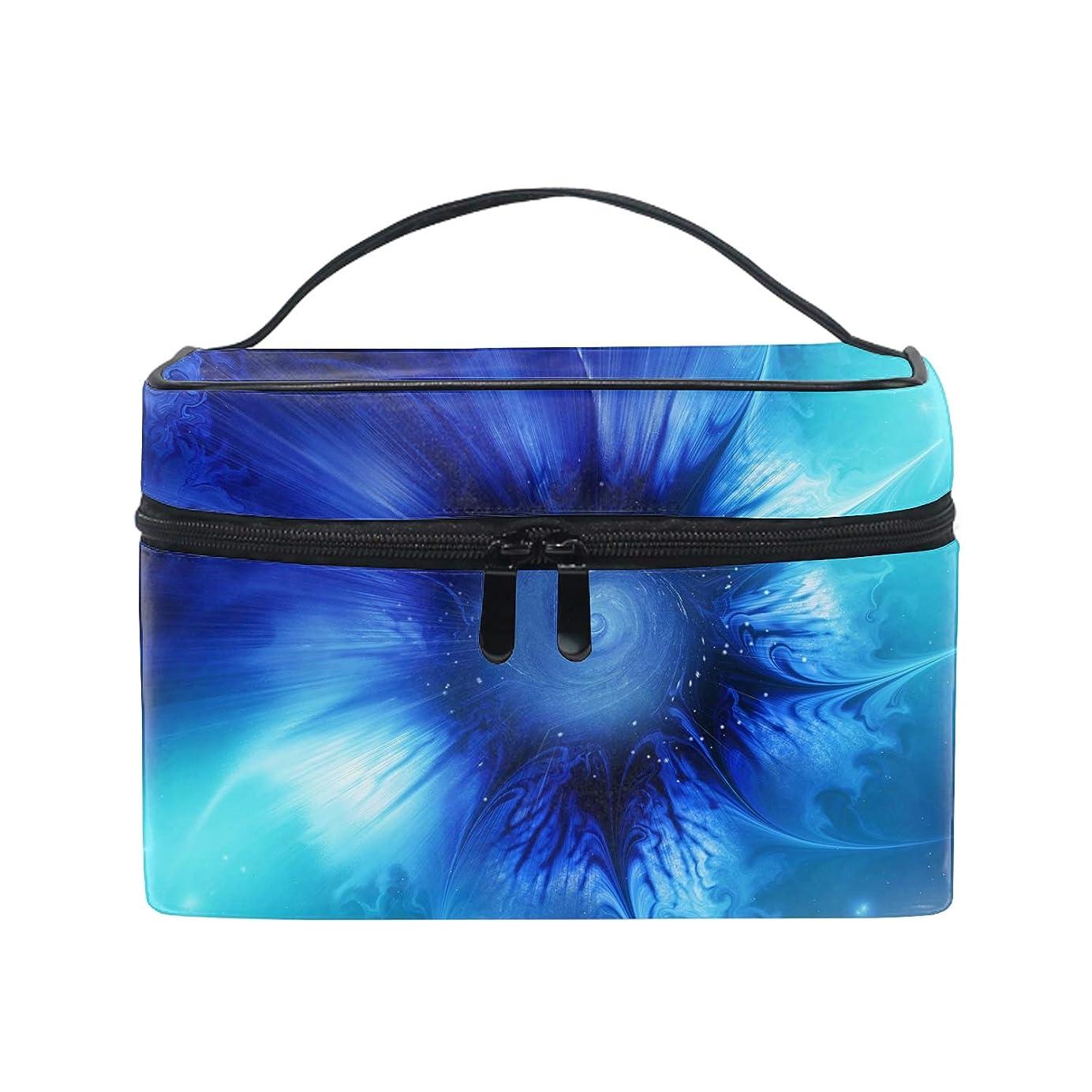取り付け圧倒する信号化粧ポーチ メイク収納 中身が見やすい青い網膜の要約 持ち運び用 小物入れ