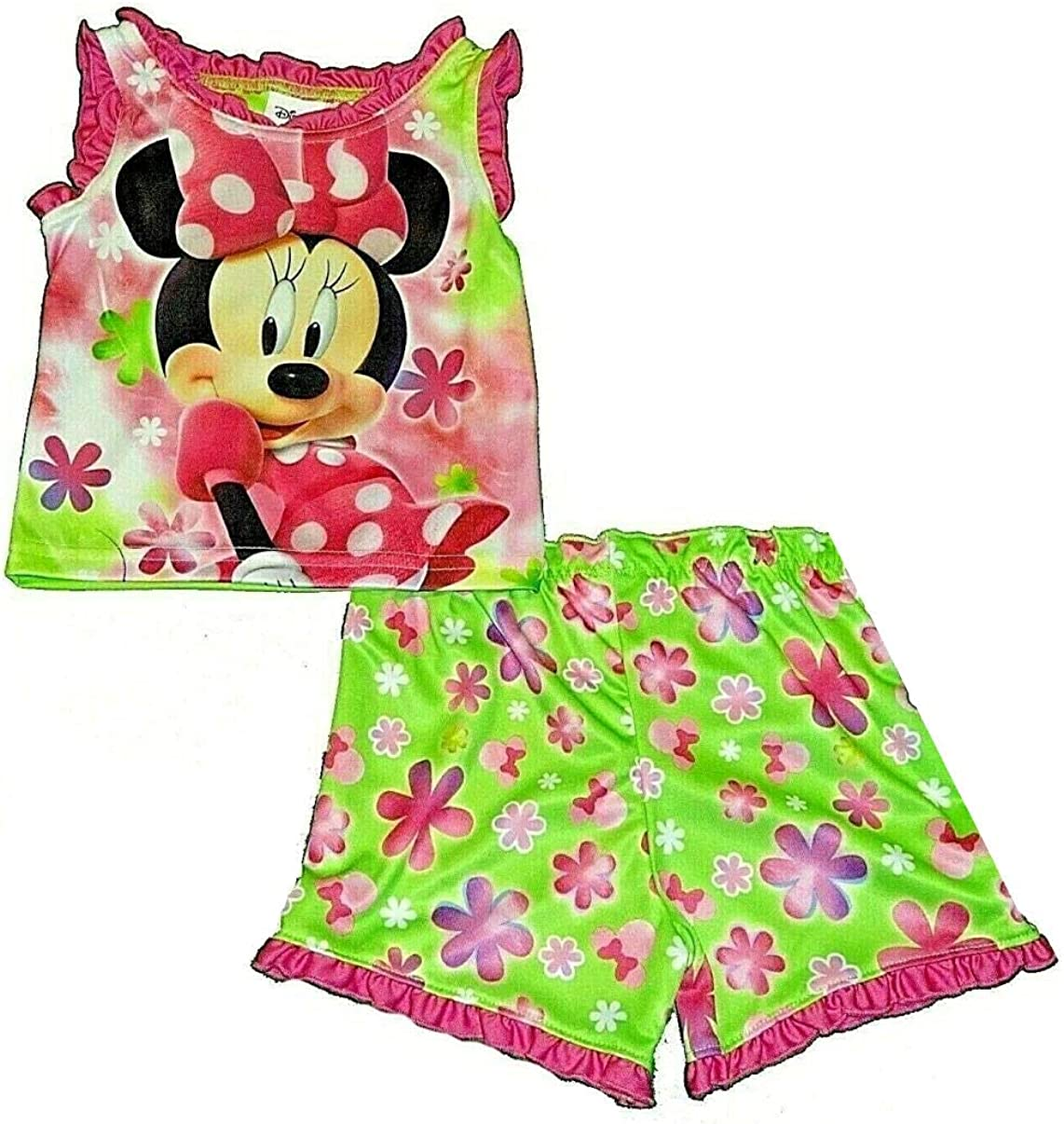 Disney Minnie Mouse Pink, Green Floral Pajama Shorts Set, Size 5T