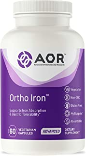 AOR, Ortho Iron, Natural Supplement to Support Healthy Iron Levels and Reduce Risk of Anemia, Vegetarian, 60 Capsules (60 ...