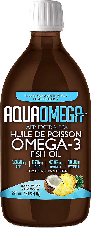 AQUAOMEGA Tropical Flavour Omega 3 Memphis Mall ML 225 Oil Fish Max 73% OFF