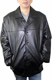 Men Genuine Leather Long car Coat Jacket Buttons Closure Big Sizes