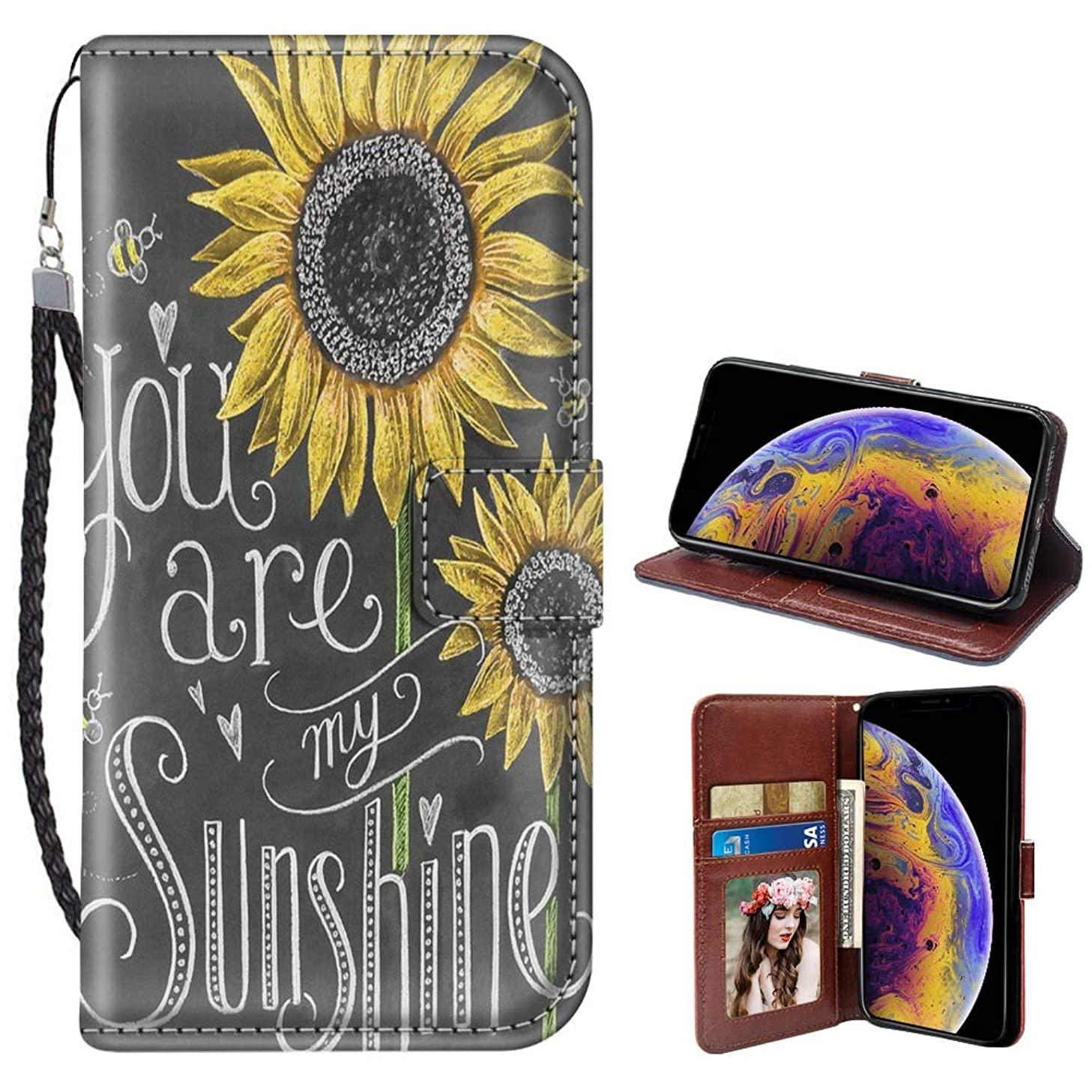 JQLOVE Apple iPhone Xs iPhone X Wallet Phone Case, You are My Sunshine Series PU Leather Flip Magnetic Clasp Multi-Card Slot Cover Case for iPhone Xs 2018 5.8 Inch