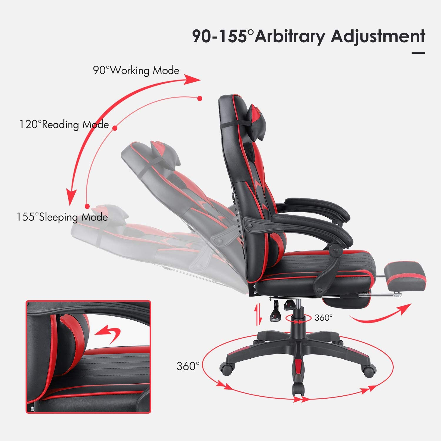 E-Sports Recliner Swivel with Headrest Lumbar Pillow Footrest Home Office High-Back Ergonomic Backrest Executive Seat Red Height /& Backrest Adjustment OKVAC Racing Style PC Video Gaming Chair