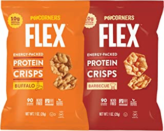 Protein Chips Variety Mix Sampler, Popped Protein Crisps, Hot Buffalo and Sweet & Smokey BBQ Flavored, Non-GMO and Certified Gluten Free 1.0 oz Bags by Variety Fun (9 Count)