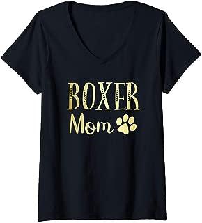 Womens Boxer Mom Funny Dog Lovers Owner Womens Girls Cute Gift Idea V-Neck T-Shirt