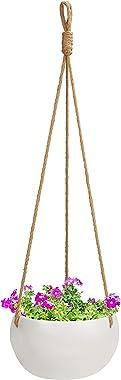 BELLE VOUS Jardiniere Suspendue en Céramique Blanche pour Intérieur/Extérieur - 69 cm - Pot Suspendu Plante Macrame - Corde a