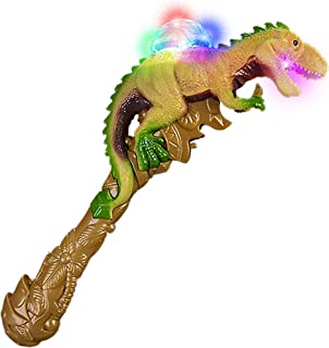 ArtCreativity T-Rex LED Light Up Dinosaur Wand Growling Sound Effects - Spinning Flashing Dome with Kaleidoscope Effect - Batteries Included - 13 Inch Illuminating Animal Wand for Boys and Girls