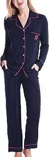 طقم منامات من NORA TWIPS للنساء بأكمام طويلة بأزرار سفلية ملابس نوم ناعمة PJ Lounge مجموعات XS-XL