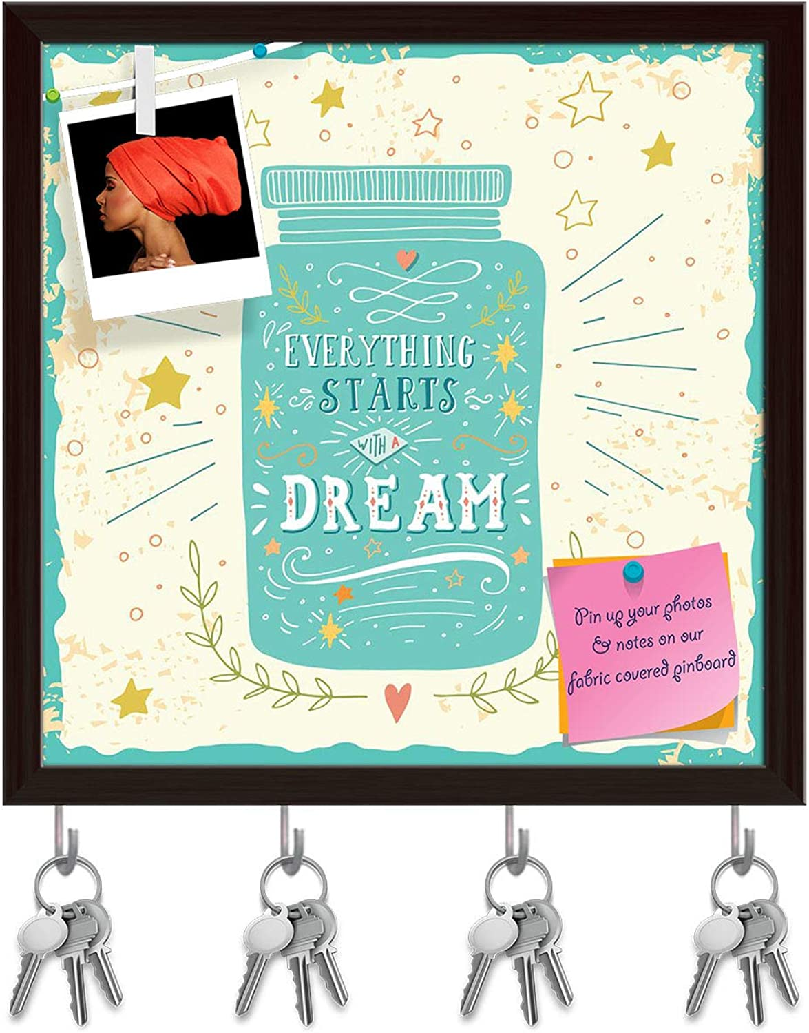 Artzfolio Everything Starts with A Dream Key Holder Hooks   Notice Pin Board   Dark Brown Frame 20 X 20Inch