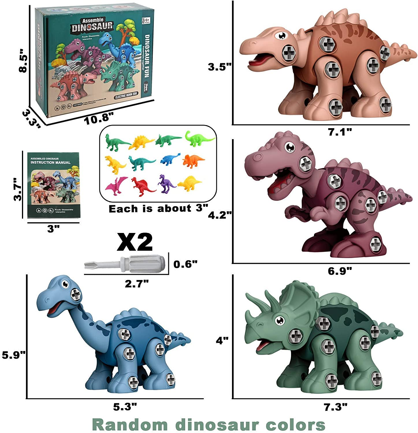 Dino Play Mat Building Construction Play Kit w// 16 Dinosaur Figures Educational STEM Toys for 3 Year Old Boys Dinosaur Take Apart Toys for Boys Dinosaur Toys Kids Gift Girls /& Boys Age 3 4 5 6 7