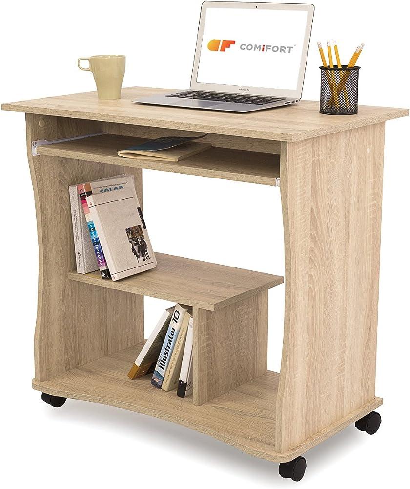 Comifort, scrivania per computer con ripiano estraibile, in legno