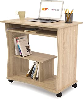 COMIFORT Bureau d'ordinateur avec Plateau Coulissant - Bureau Robuste et spacieux, Style Moderne et Minimaliste, capacité ...