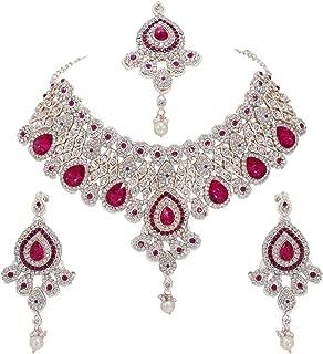 CROWN JEWEL Bollywood Designer Indian Wedding Bridal Party Wear Fashion Jewelry Necklace Set