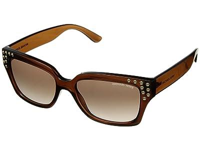 Michael Kors 0MK2066 55mm (Dark Brown Crystal/Brown Peach Gradient) Fashion Sunglasses