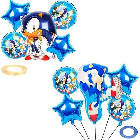 WENTS Caricatura Sonic globo Cake Topper,Plaza Sésamo globo Banderines para fiesta,Baby Shower Fiesta de cumpleaños Pastel Decoración Suministros