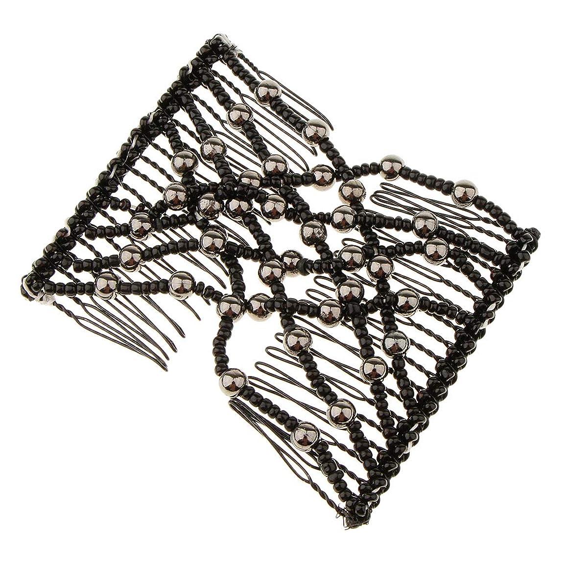 章ジェット気味の悪いBaoblaze 髪の櫛 ストレッチ ヘアクリップ レディース ヘアスタイル 使いやすい ブラック