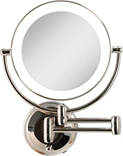 Zadro Cordless Dual LED Lighted Round Wall Mount Make Up Mirror with 1X & 5X magnification in Polished Nickel Finish.