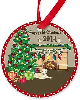 CafePress 2014 Yellow Labs 1St Christmas Round Christmas Ornament