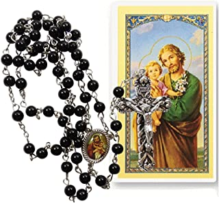 Saint Joseph Father of Jesus Cinnamon Bead Rosary with Color Image Centerpiece and Blessed Prayer Card