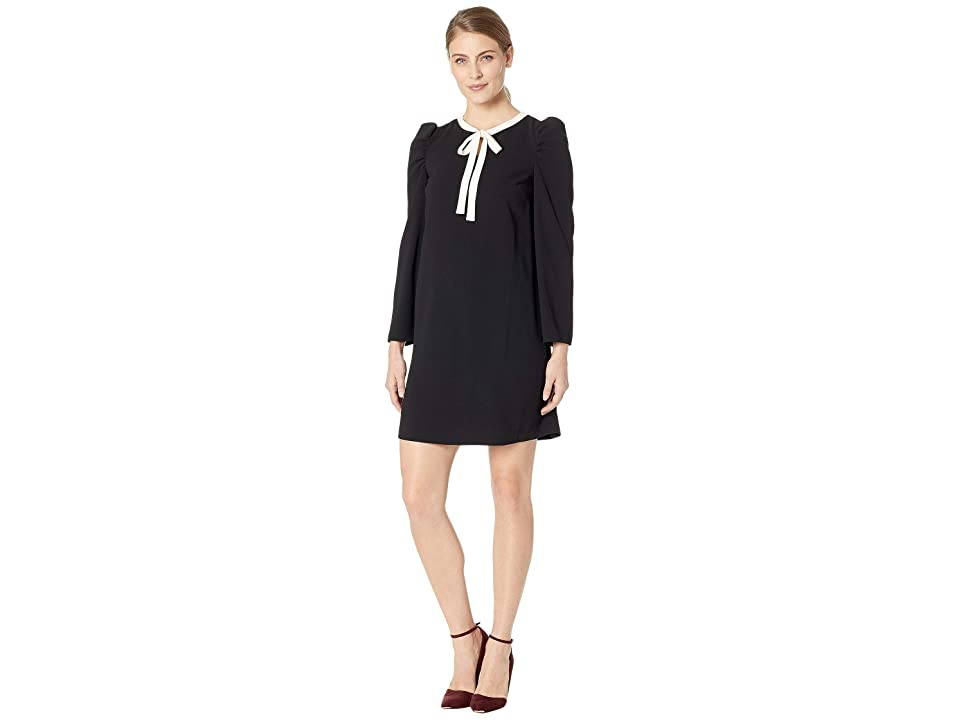 0c041864516 CeCe Long Sleeve Puffed Dress w/ Neck Tie (Rich Black) Women