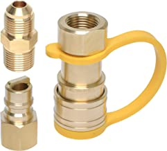 Wadoy 3/8 Inch Natural Gas Quick Connect Adapter Fittings - 100% Solid Brass, Propane Hose Grill Quick Disconnect Kit