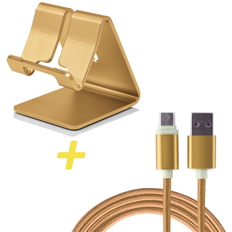Atril valor Smartphone Soporte + USB tipo C cable para OnePlus 3/3T/5/5T – de aluminio – Gold: Amazon.es: Electrónica