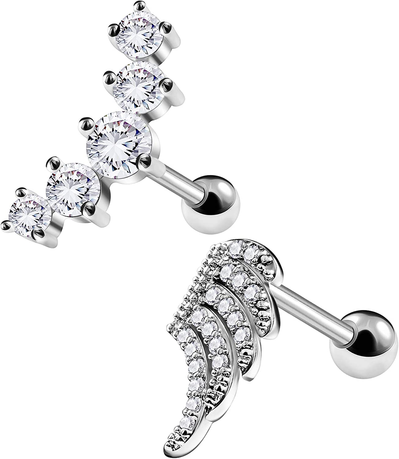 BIG GAUGES Pair of 316L Surgical Steel 16g Gauge 1.2mm 1/4 (6mm) Clear CZ Crystal Tragus Helix Cartilage Piercing Jewelry Earrings Lobe