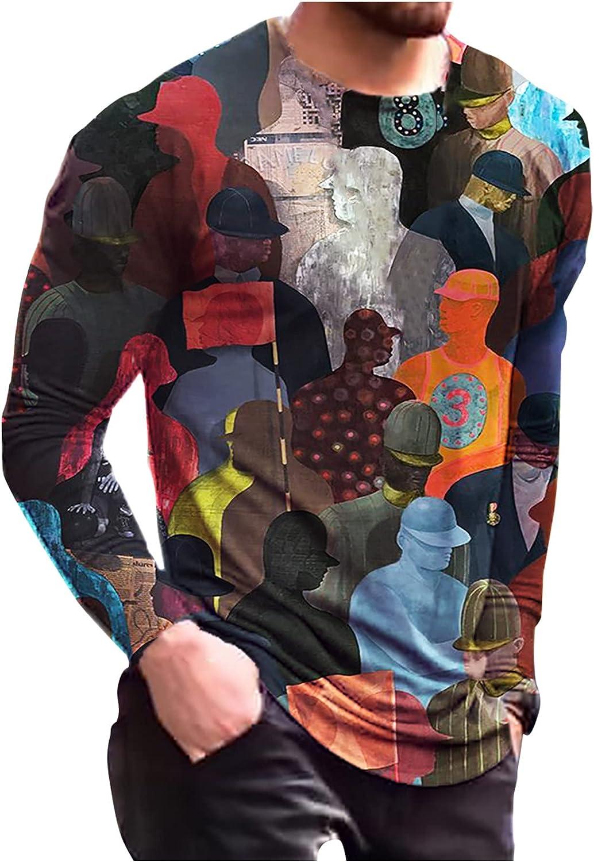 Bravetoshop 3D Printed T-Shirt for Men,Men's Novelty Graphic Crewneck Long Sleeve Tee Shirts Street Fashion Blouse