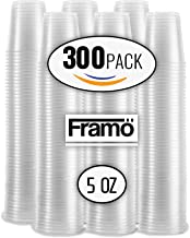 5 Oz Clear Plastic Cups by Framo, For Any Occasion, BPA-Free Disposable Transparent Ice Tea, Juice, Soda, and Coffee Glasses for Party, Picnic, BBQ, Travel, and Events, (300, clear)