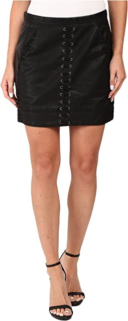 Vegan Leather Lace-Up Skirt in Boys Soul