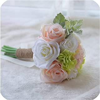 2019 Silk Artificial Rose Flowers Bridesmaid Bouquets Beach Bride Marriage Bridesmaid Hand Holds Home Decoration,as Photo