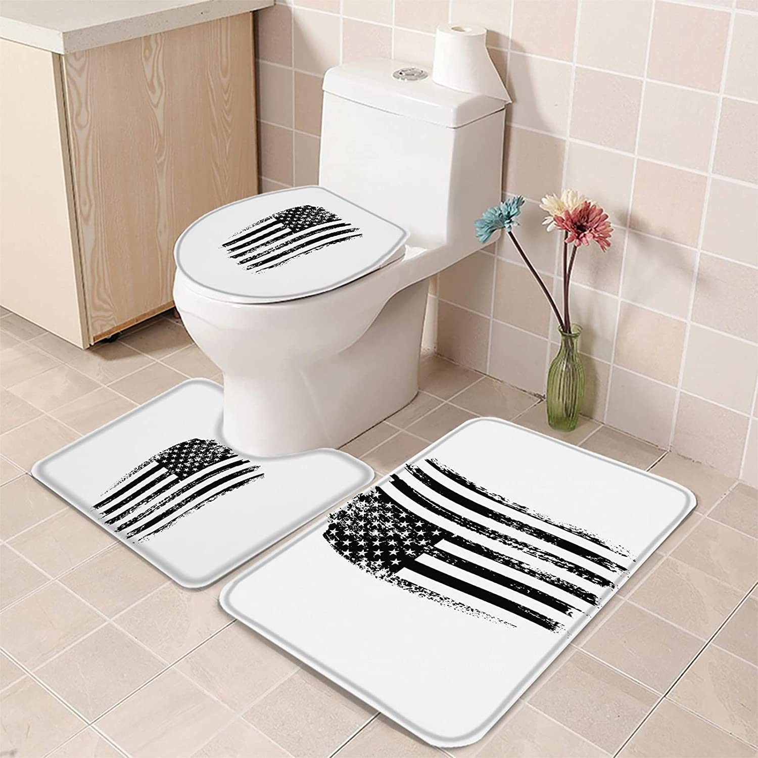 Bath Rug Set 3 Piece Independence American Wh and Day Max 70% OFF Flag Black Nashville-Davidson Mall