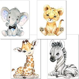YOULIKE Baby Room Decoration Cartoon Animals Pictures - 4 Pack Theme Nursery Wall Art Decals for Boys Girls Kids Children'...