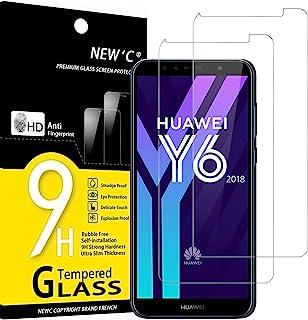 NEW'C 2-Stuks, Screen Protector voor Honor 7A, Huawei Y6 2018, Gehard Glass Schermbeschermer Film 0.33 mm ultra transparan...