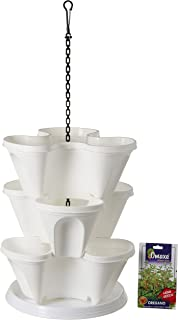Gardens Need Plastic Stack-A-Pot Hanging Set (White, 5-Pieces)