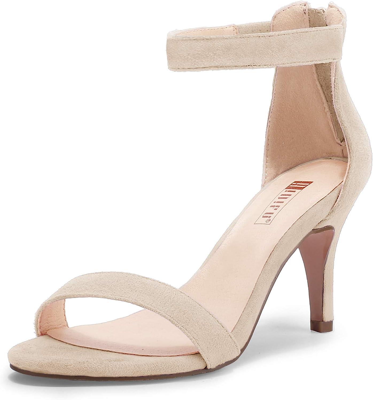 IDIFU Women's IN3 Slim Fashion Ankle Strap Kitten Heel Open Toe Heeled Sandals with Zipper
