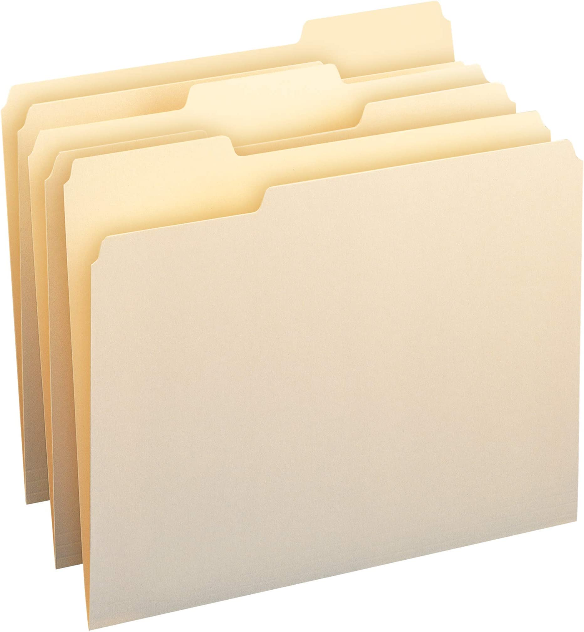 Amazon Basics 1/3-Cut Tab, Assorted Positions File Folders, Letter Size, Manila - Pack of 100