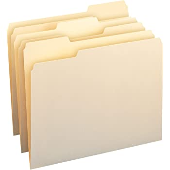 AmazonBasics 1/3-Cut Tab, Assorted Positions File Folders, Letter Size, Manila - Pack of 100