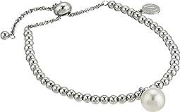"10mm Round Pearl on Steel Beaded Bracelet 6.5-11"""